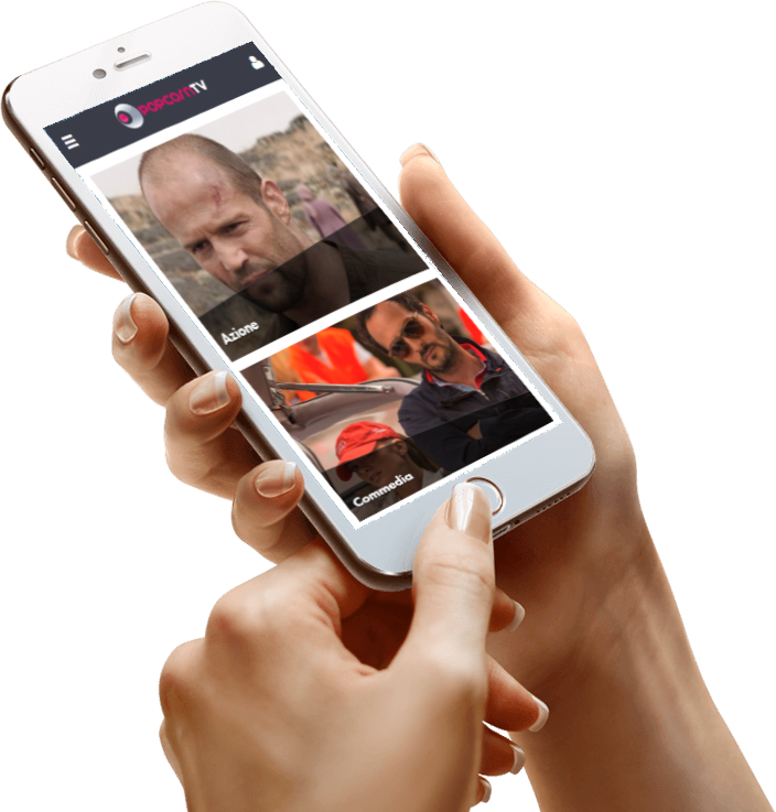 La web tv Popcorn tv su smartphone.