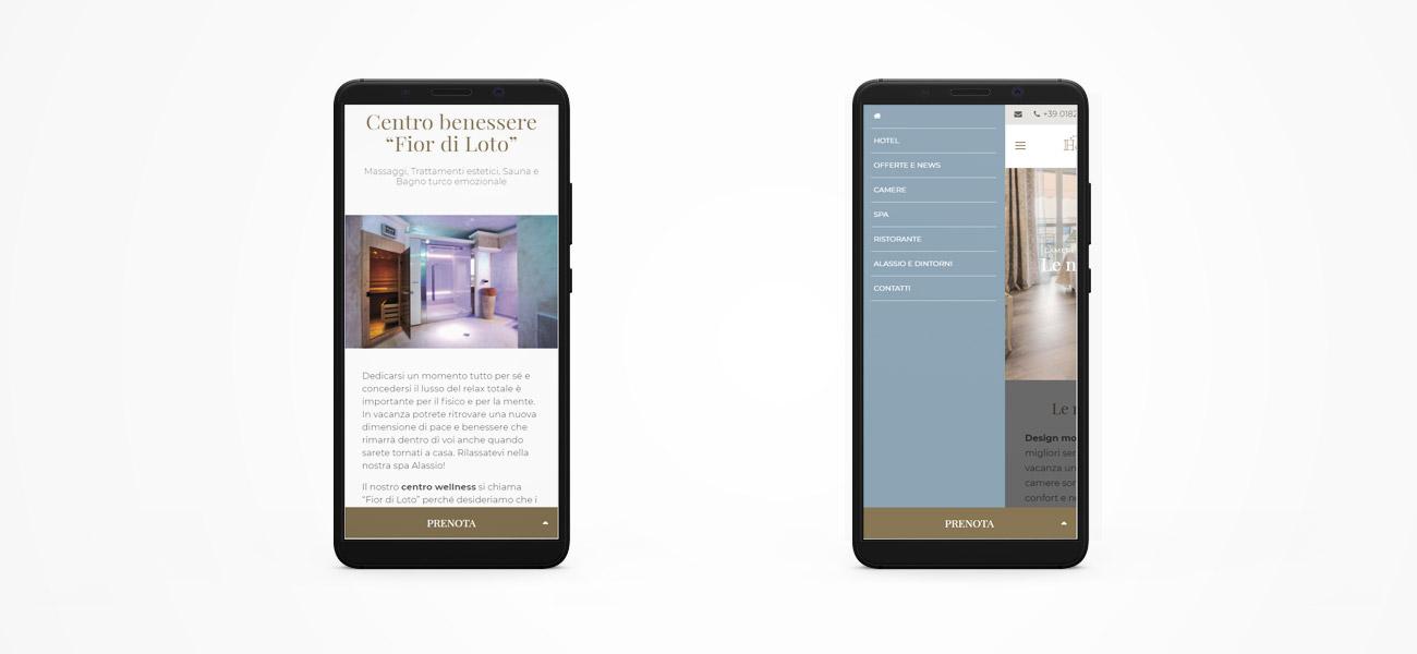 Il sito dell'Hotel Regina di Alassio visto da smartphone