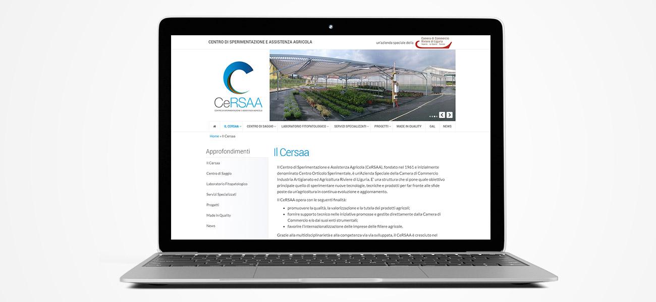 Il sito del CERSAA su un pc laptop