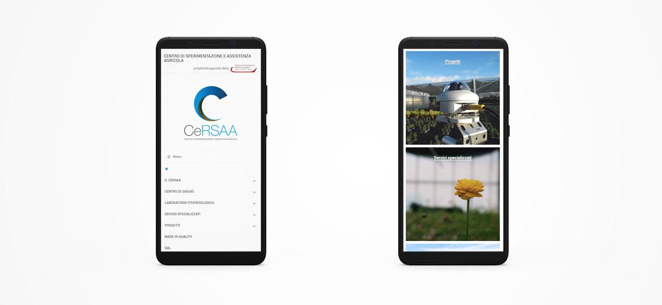 Il sito del CERSAA responsive su smartphone