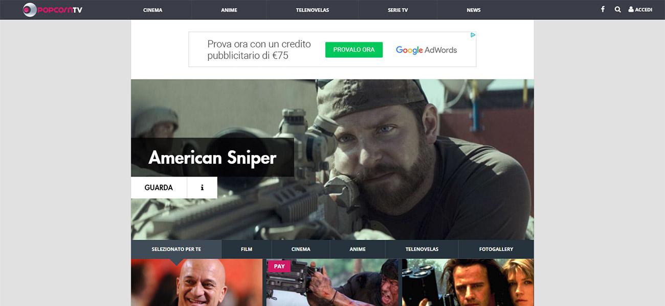 L'homepage di Popcorn TV